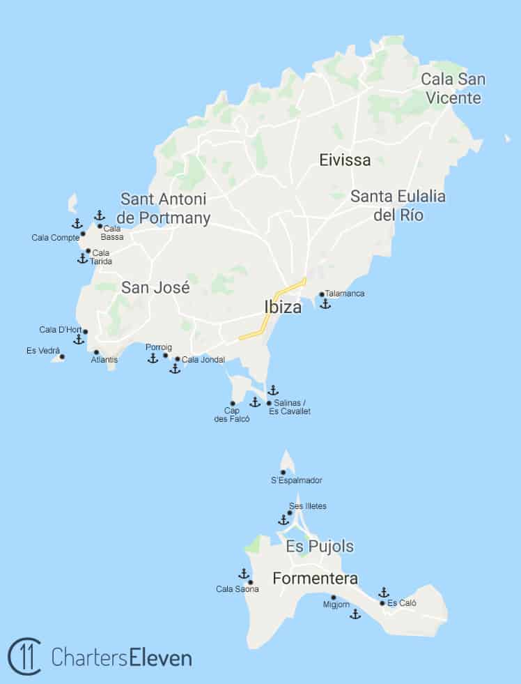 catamaran for family in Ibiza - map of Ibiza and Formentera