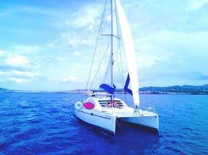 Catamaran charter Ibiza sailing with full sail