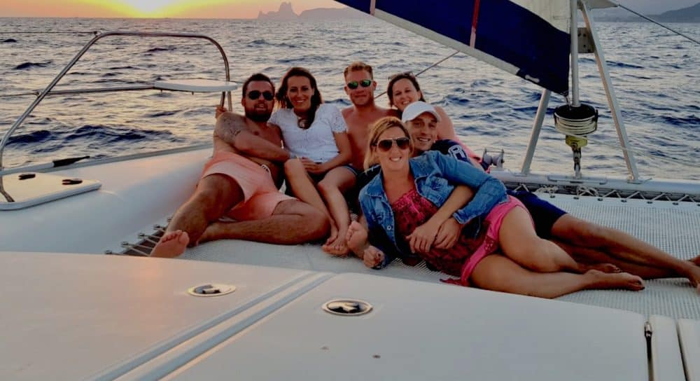 catamaran experience with friends in Ibiza