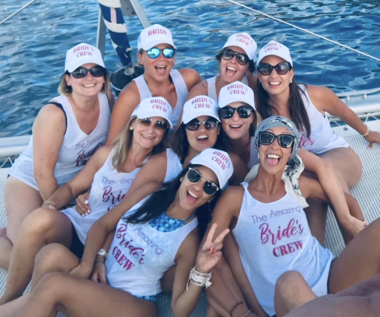 Hen party in Ibiza on catamaran, happy girls on board
