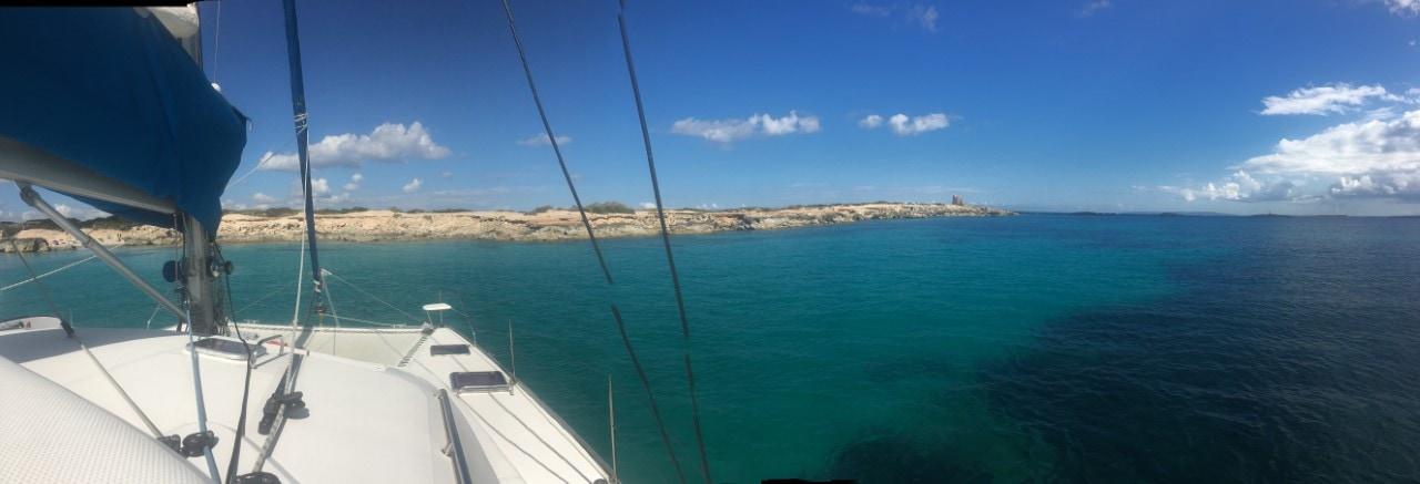 catamaran day charter Ibiza, salinas from the catamaran